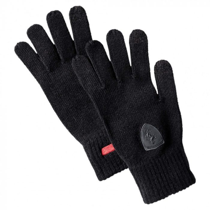 2017, Black, M-L, Puma Ferrari Knitted Scuderia Gloves