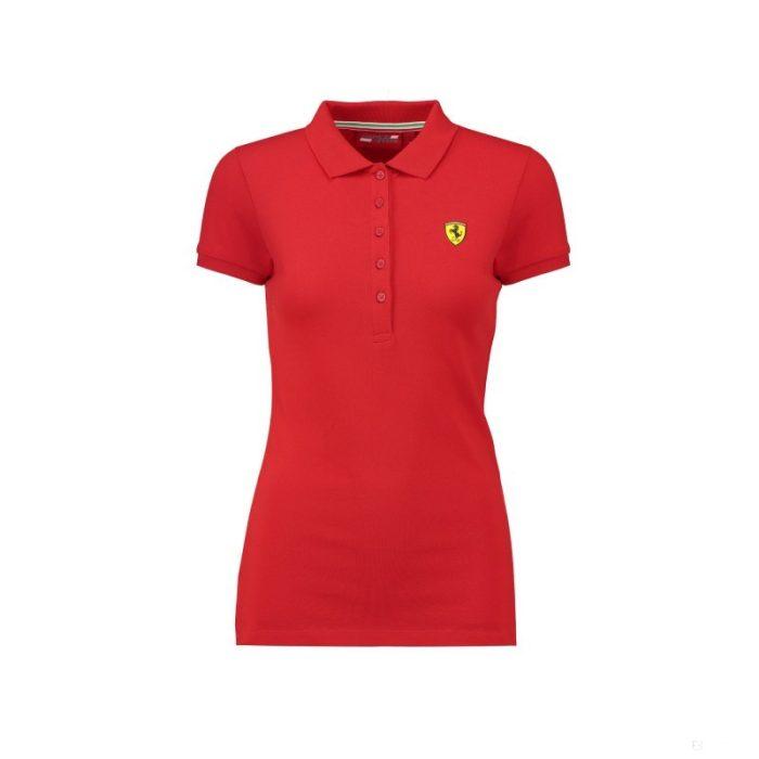 2018, Red, M, Ferrari Womens Classic Polo