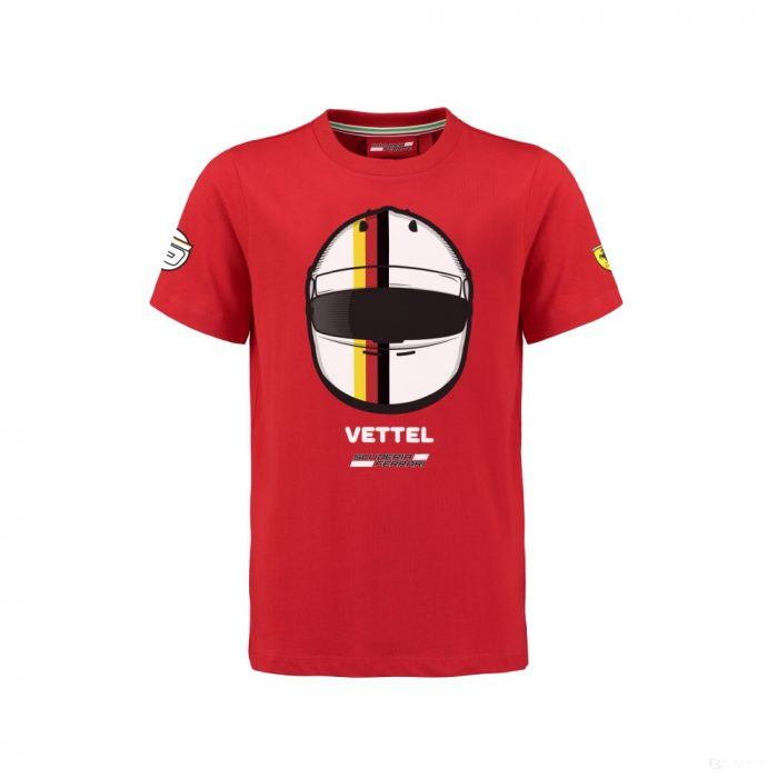 2018, Red, 92, Ferrari Round Neck Kids VETTEL5 T-shirt