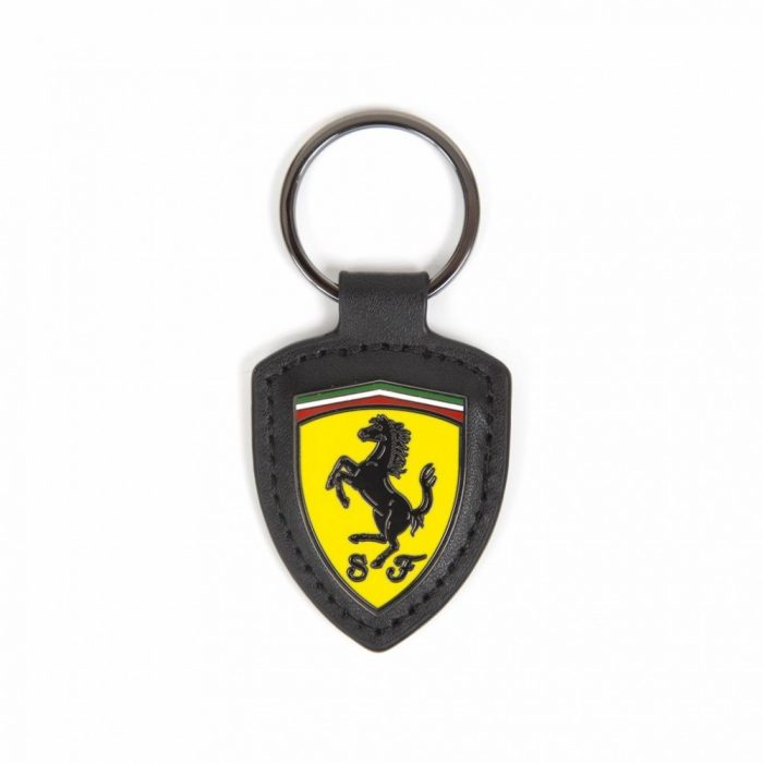 2018, Black, Ferrari Leather Keychain