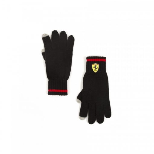Ferrari knitted Scudetto Gloves, Black, 2018 - FansBRANDS