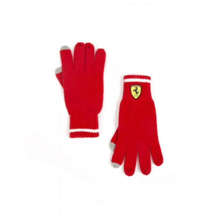 2018, Red, Ferrari knitted Scudetto Gloves