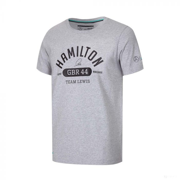 2017, Grey, S, Mercedes Hamilton Round neck GBR 44 T-shirt