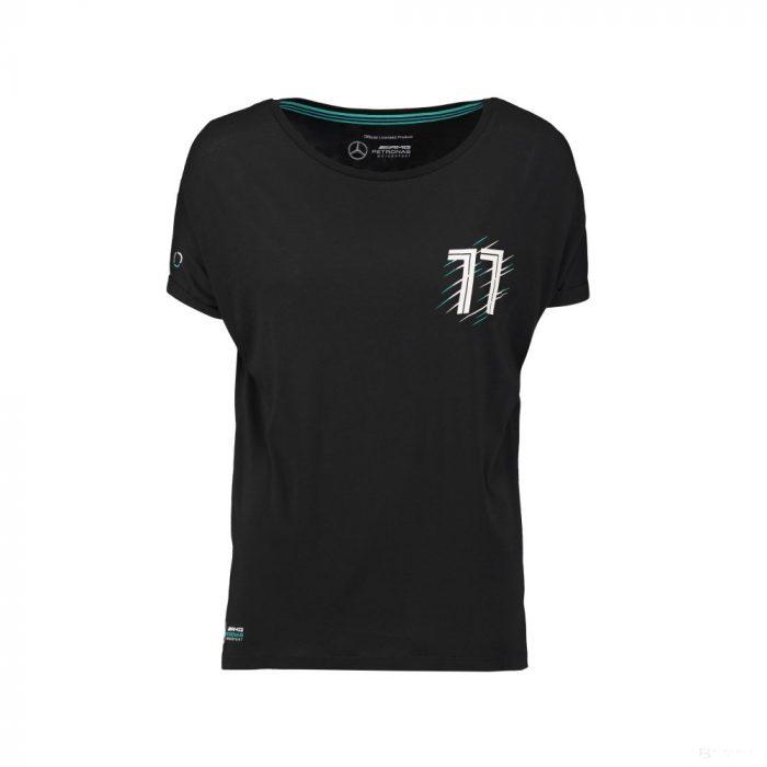 2018, Black, S, Mercedes Bottas Round Neck Womens Valtteri 77 T-shirt