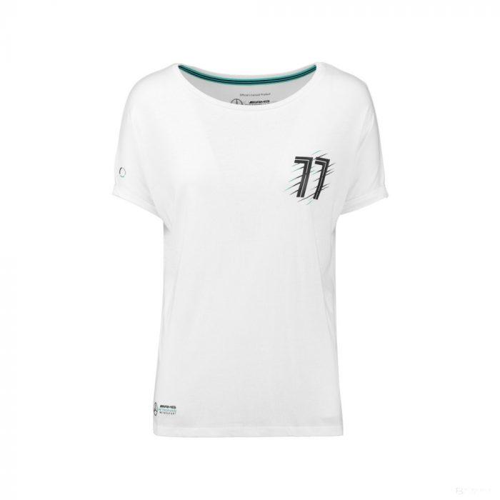 2018, White, M, Mercedes Bottas Round Neck Womens Valtteri 77 T-shirt