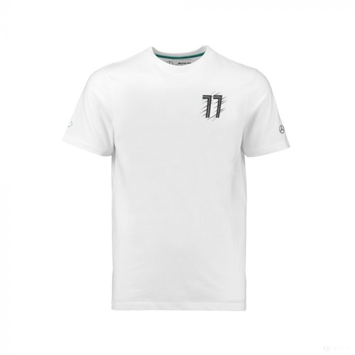 2018, White, 92, Mercedes Bottas Round Neck Kids T-shirt