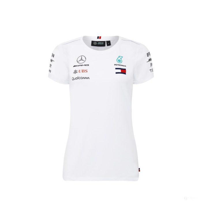 2018, White, M, Mercedes Round Neck Womens Team T-shirt