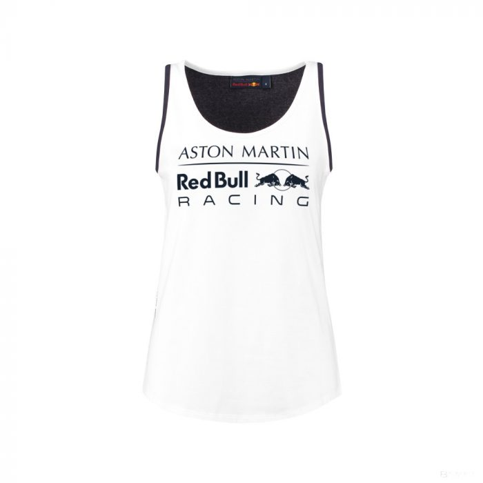 2018, White, XL, Red Bull Round Neck Womens Racer Top
