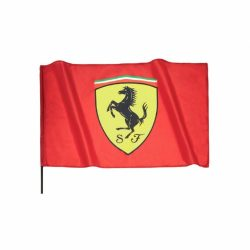 2018, Red, 90 x 60 cm, Ferrari Scudetto Flag with Pole