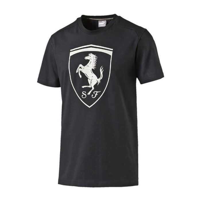 2017, Black, S, Puma Ferrari Round Neck Big Shield T-shirt