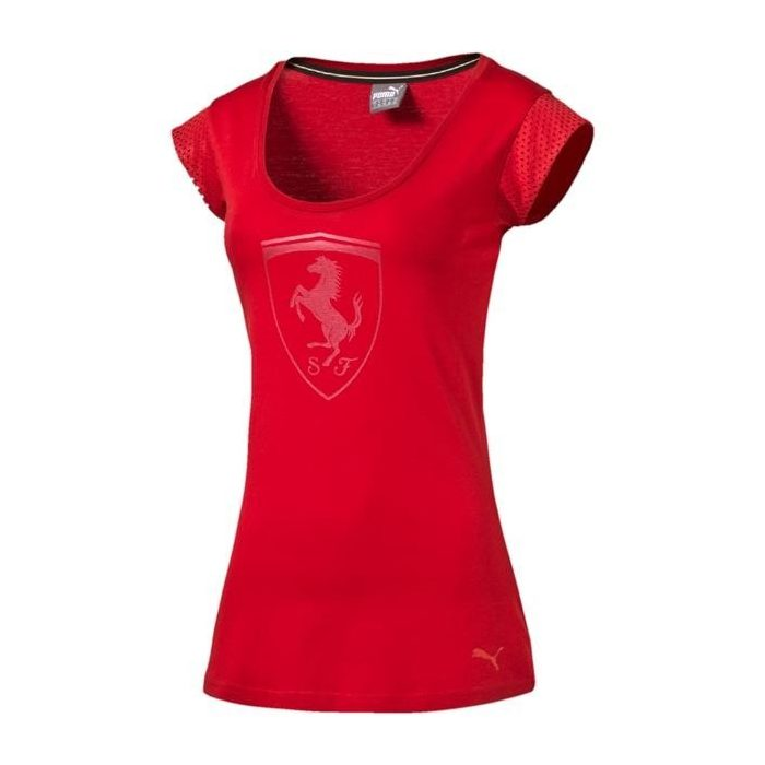 2016, Red, XS, Puma Ferrari Round Neck Womens Big Shield T-shirt