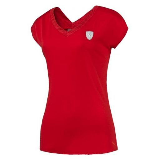 Puma Ferrari Round Neck Womens Shield T-shirt, Red, 2016 - FansBRANDS