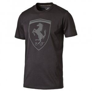 2016, Black, S, Puma Ferrari Round Neck Big Shield T-shirt