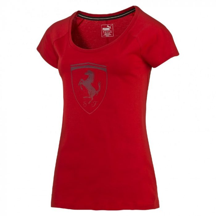 2016, Red, XS, Ferrari Round Neck Womens Big Shield T-shirt