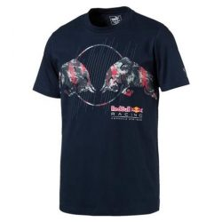 2017, Blue, Puma Red Bull Round Neck RacShirt T-shirt