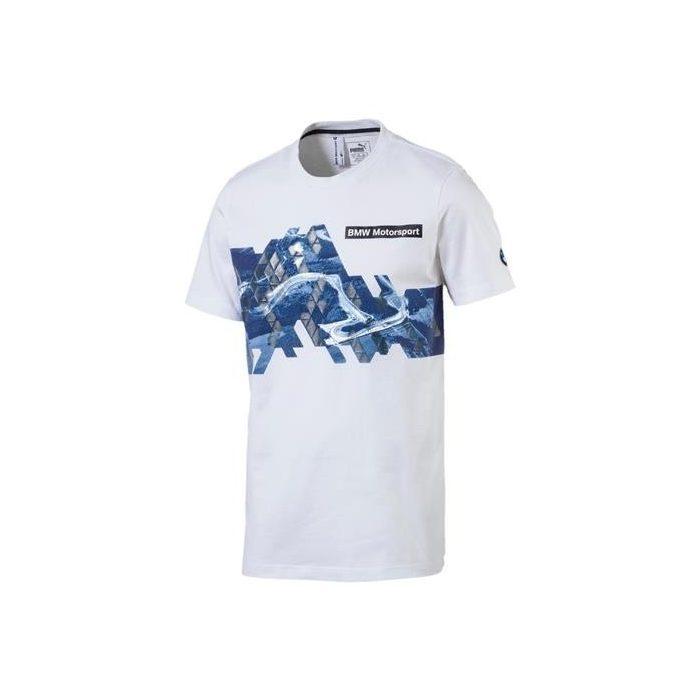 2017, White, S, Puma BMW Round Neck Graphic T-shirt