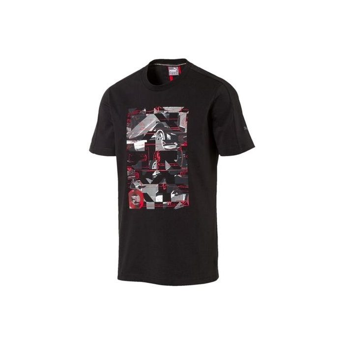 2017, Black, XL, Puma Ferrari Round Neck Graphic T-shirt