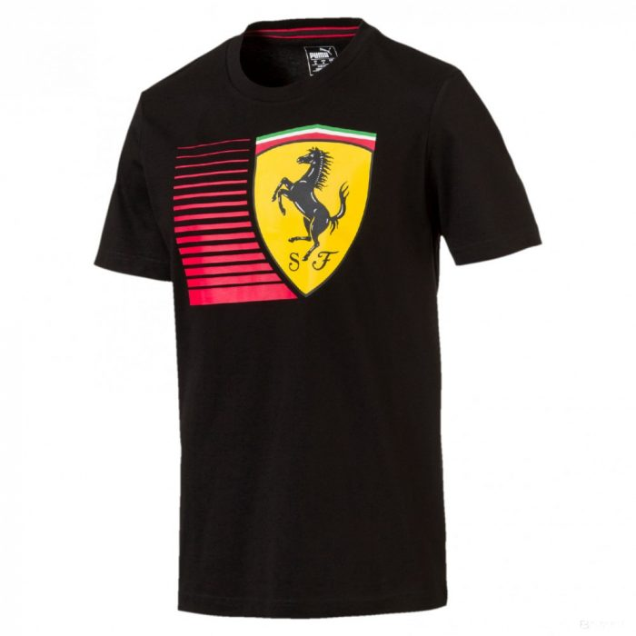 2018, Black, M, Puma Ferrari Round Neck Big Shield T-shirt