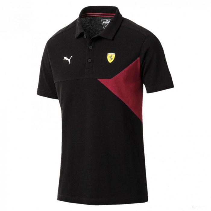 2018, Black, XS, Puma Ferrari Lifestyle Red Polo