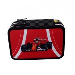 2018, Red, 20x12x7 cm, Ferrari 3 zip Scudetto Pencil Case