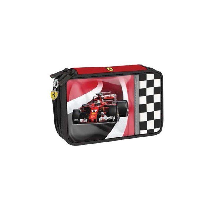 2018, Red, 20x12x7 cm, Ferrari 3 Zip Race Car Pencil Case