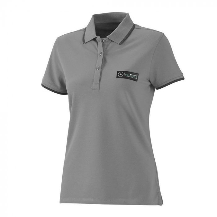 2015, Grey, L, Mercedes Womens Polo