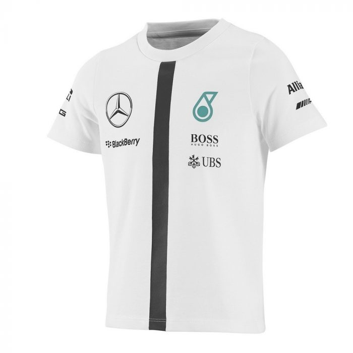 2015, White, 3-4 years, Mercedes Round Neck Kids Team T-shirt