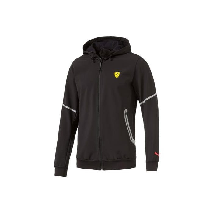 2017, Black, M, Puma Ferrari Softshell Hooded Jacket