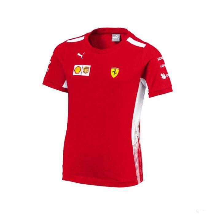 2018, Red, 176, Ferrari Round Neck Kids Team T-shirt