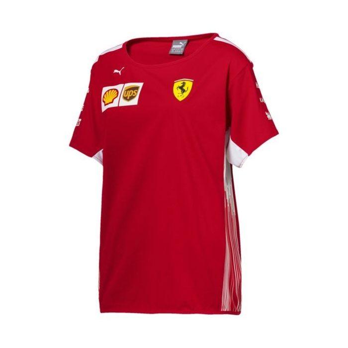 2018, Red, L, Ferrari Round Neck Womens Team T-shirt