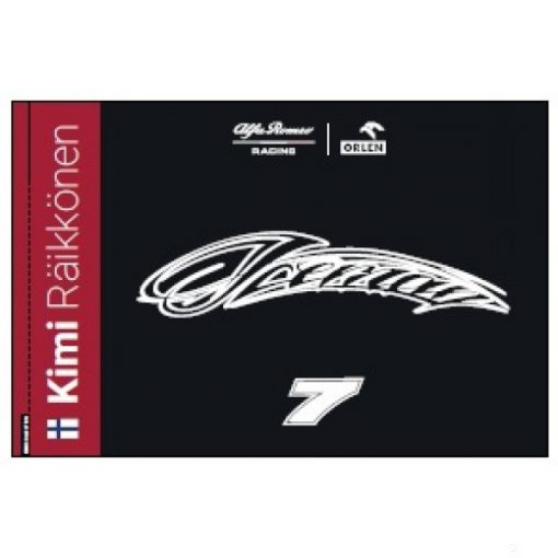 2020, Black, 150x100 cm, Alfa Romeo Kimi Raikkönen Iceman Flag