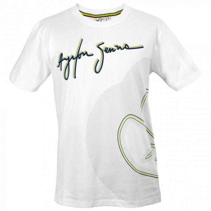 2016, White, S, Senna Round Neck Track Line T-shirt