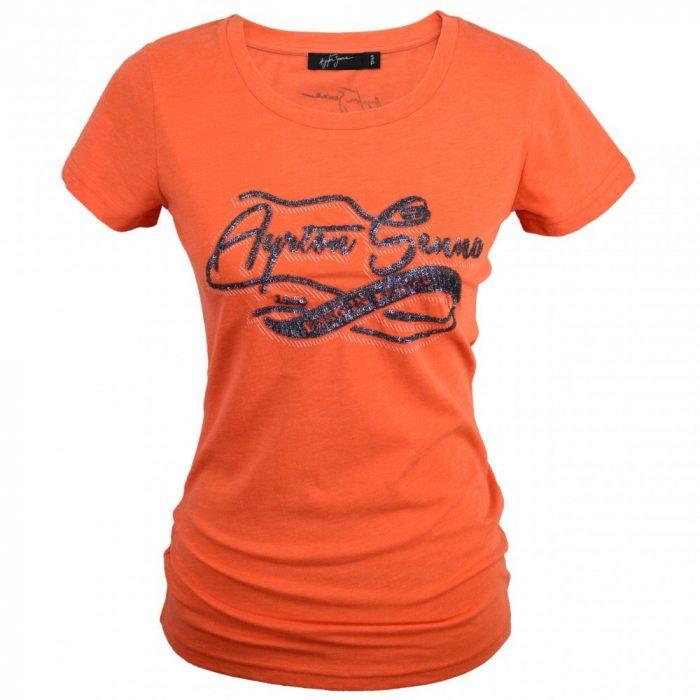 2016, Orange, XS, Senna Round Neck Womens Born in Brasil T-shirt