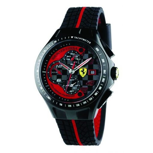 2019, Black, Ferrari Uomo Crono Mens Watch
