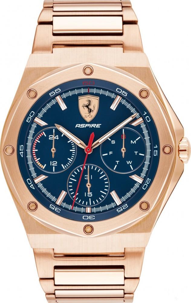 2019 Gold Ferrari Aspire Multifunction Mens Watch