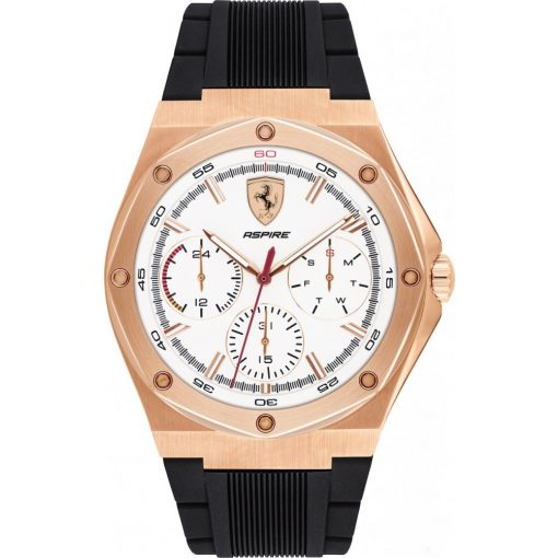 2019, Black-Gold, Ferrari Aspire Multifunction Mens Watch