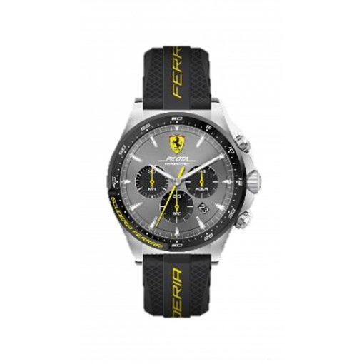Ferrari Pilota Chrono Mens Watch, Black-Yellow, 2019 - FansBRANDS