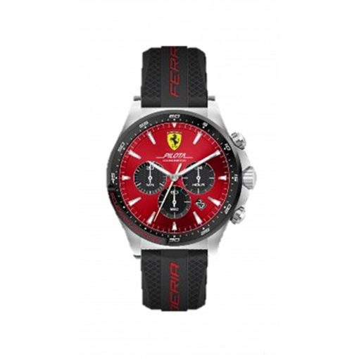 2019, Black-Red, Ferrari Pilota Chrono Mens Watch