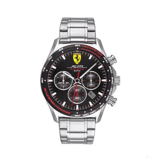 2020, Silver, Ferrari Pilota EVO Chronograph SS Mens Watch