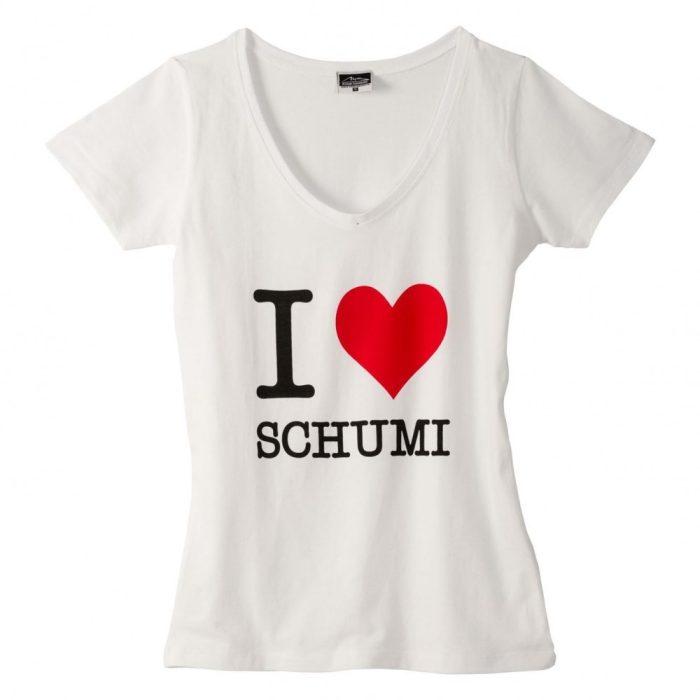 2015, White, XS, Schumacher V Neck Womens T-shirt